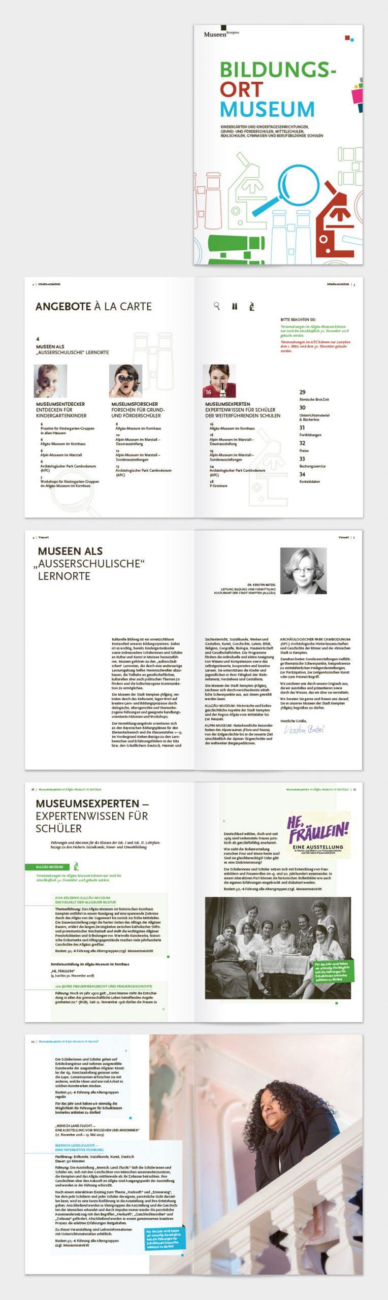 """Titel und Innenseiten der Broschüre """"Bildungsort Museum"""""""
