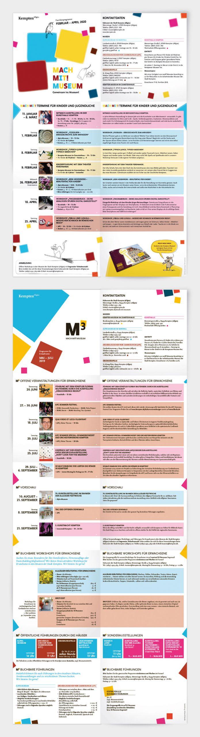 Leporello mit den museumspädagogischen Angeboten der Stadt Kempten für Kinder, Jugendliche und Erwachsene