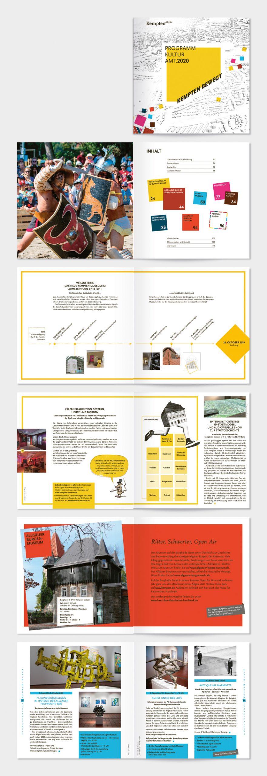 Titel und Innenseiten des Programmbuches vom Kulturamt Kempten/Allgäu.